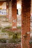 Ex-Soviet military building. An old tank repair facility in ex-Soviet military area royalty free stock photo