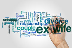 Ex wife word cloud concept on grey background Stock Photos