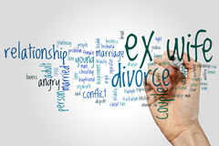 Ex wife word cloud concept on grey background Royalty Free Stock Images