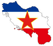 Ex Yugoslavia map and flag stock image
