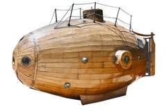 An exact copy of ancient submarine of Monturiol Ictineu I 1864 isolated on white. An exact copy of ancient submarine of Monturiol Ictineu I 1864 royalty free stock photos