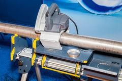 Exact pipe cutting bench. Real mate at renovation sites and it is also very handy for on-site pipe assembly jobs. It is lightweight and easy to carry anywhere stock images