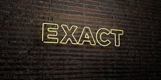 EXACT -Realistic Neon Sign on Brick Wall background - 3D rendered royalty free stock image. Can be used for online banner ads and direct mailers Stock Photo