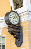 Exact time clock in the arch of the General Staff building. ST. PETERSBURG, RUSSIA - JULY 10, 2016: exact time clock in the arch of the General Staff building Stock Photos