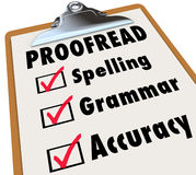 Exactitude corrigée sur épreuves de grammaire d'orthographe de liste de contrôle de presse-papiers Photo stock