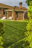 Exactly trimmed grass. Evenly trimmed lawn grass in the backyard Stock Image