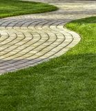 Exactly trimmed grass. Evenly trimmed lawn grass in the backyard Royalty Free Stock Photos