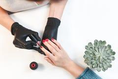 Exakt arbete av förlagen på manikyr i kvinnas salong royaltyfri bild