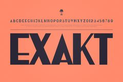 Exakt. Stylish alphabet letters and numbers. , medium font type. regular, accented typeface design. contemporary, stylized typesetting Stock Photo