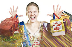 Exalted woman with shopping bags Stock Photos