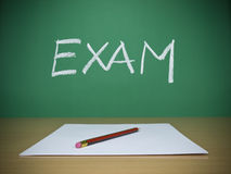 Exam. A few blank sheets ready for been filled in a exam Royalty Free Stock Photo