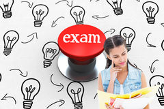 Exam against digitally generated red push button Stock Photos