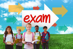 Exam against green field under blue sky Stock Image