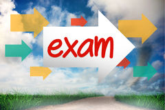 Exam against road leading out to the horizon Royalty Free Stock Photography