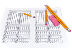 Exam Answer Sheet Stock Photography