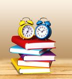Exam. Book Homework Clock Time Stack Education royalty free stock photography