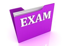 EXAM bright white letters on a lilac folder Stock Photo