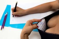 Exam cheating Stock Photography
