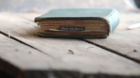 Exam are coming idea - text and book. Exam are coming concept - text and old vintage book stock video footage