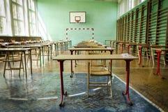 Exam hall. Old battered examination room at the sports hall Royalty Free Stock Photos