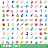 100 exam icons set, isometric 3d style. 100 exam icons set in isometric 3d style for any design vector illustration Royalty Free Stock Images