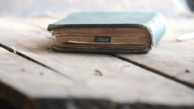 Exam idea - text and book. Exam concept - text and old vintage book stock footage