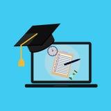 Exam, laptop, graduation cap Royalty Free Stock Photos