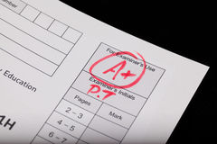 Exam. A plus on an exam paper Stock Photography