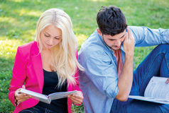 Exam preparation. Couple of students sitting on the grass and re. Ading a book while teaching lessons on a break near the university building Stock Photography