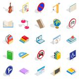 Exam preparation icons set, isometric style. Exam preparation icons set. Isometric set of 25 exam preparation vector icons for web isolated on white background Stock Images