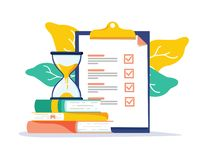 Exam preparation school test. Examination concept checklist and hourglass, choosing answer questionnaire form vector illustration