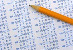Exam Sheet And Pencil Royalty Free Stock Photography