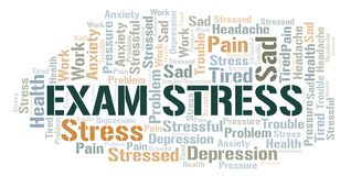 Exam Stress word cloud. Wordcloud made with text only vector illustration