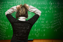 At the exam the student. Student being examinated from math Royalty Free Stock Images