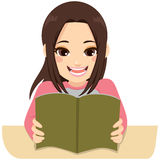 Exam Studying Girl. Illustration of a young teenager student girl happy studying for exam Royalty Free Stock Photo