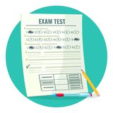 Exam test on paper with answers and pencil. Assessment of knowledge on paper and pen. Estimation of qualification isolated cartoon vector illustration Royalty Free Stock Photo