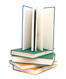 Exam textbooks. Opened book with blank pages isolated over white background Stock Photos