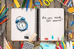 Exam. Time concept education table academic alarm royalty free stock images