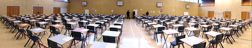 Exam Time in a Wide panoramic shot Royalty Free Stock Images