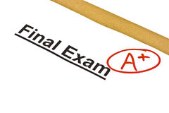 Exame final identificado por meio de A+ fotografia de stock royalty free