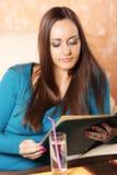 Examen cercano del menú Foto de archivo