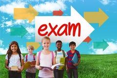 Examen contre le champ vert sous le ciel bleu Image stock