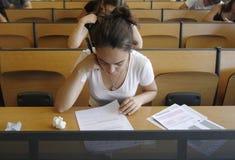 Examen de la universidad Imágenes de archivo libres de regalías