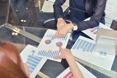 Examen des avantages des plans d'action, graphiques de société Image stock