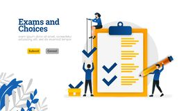 Examens en Keuzen kan het Vlakke karakter voor het leren en onderzoeksconcept van de adviseurs het vectorillustratie gebruik voor stock illustratie
