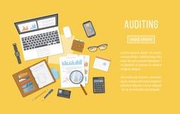 Examinando conceitos Análise financeira, captação de dados, planeamento, estatísticas, pesquisa ilustração stock