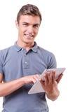 Examinando seu dispositivo brandnew Foto de Stock