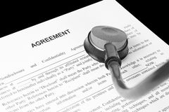 Examination of the business agreement Stock Photo