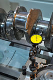 Examination of a crankshaft Royalty Free Stock Images
