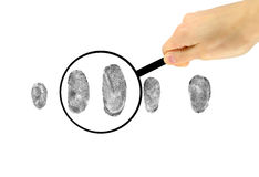 Examination of fingerprints under a magnifying glass Royalty Free Stock Image